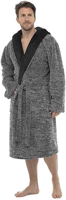 Mens Foxbury Marl Effect Hooded Two-Tone Shaggy Fleece Bathrobe Grey ... 6dfe53f17