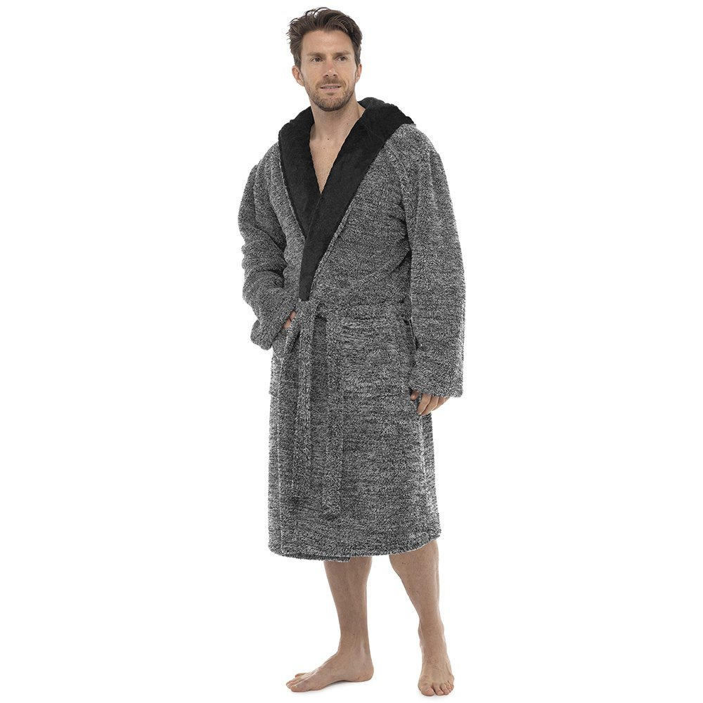 Foxbury Mens Hooded Two-Tone Shaggy Fleece Dressing Gown MROBE-HT050