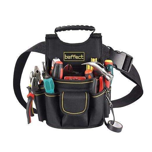 Bolsa para electricista, 20 bolsillos Cinturón para bolsa de herramientas de lona con cinturón de ajustable Herramienta para electricistas de servicio ...