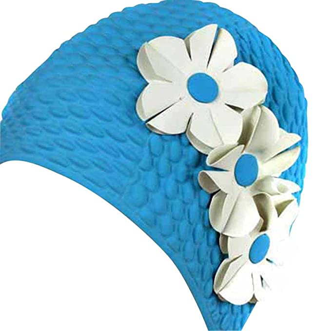 60s Swimsuits, 70s Bathing Suits | Retro Swimwear Luxury Divas Vintage Style Latex Swim Bathing Cap With Flowers $12.97 AT vintagedancer.com
