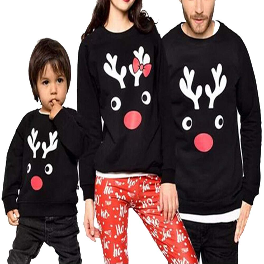 Dady&Me Christmas Matching T-Shirt Men Long Sleeves Deer Print Family Tops Blouse Shirt