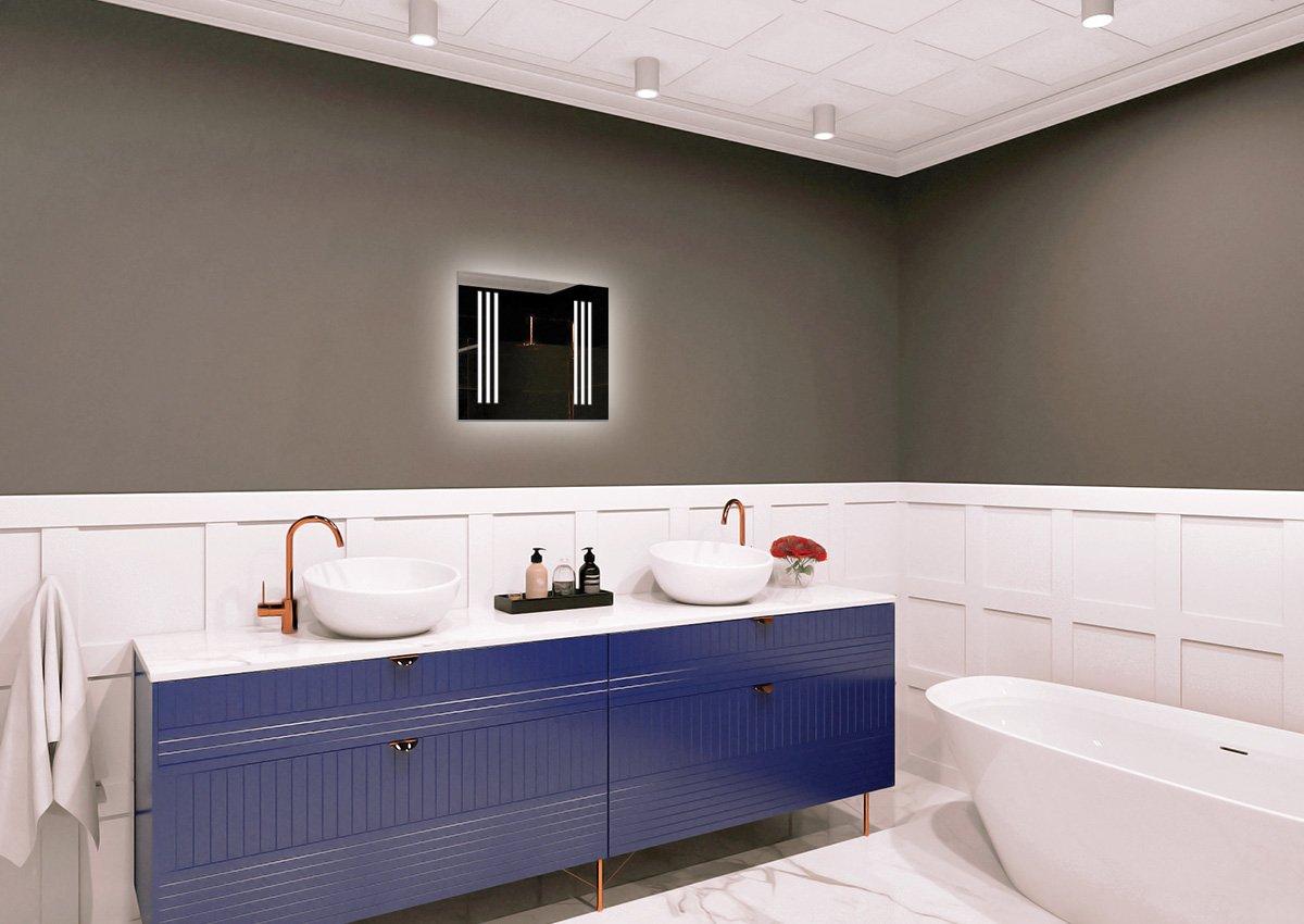 Pr/êt /à laccrochage Miroir Lumineux Miroir avec /éclairage Miroir Mural Taille du Miroir 40x40 cm Miroir LED Premium ARTTOR M1CP-03-40x40 Blanche Chaude 3000K Miroir de Salle de Bain