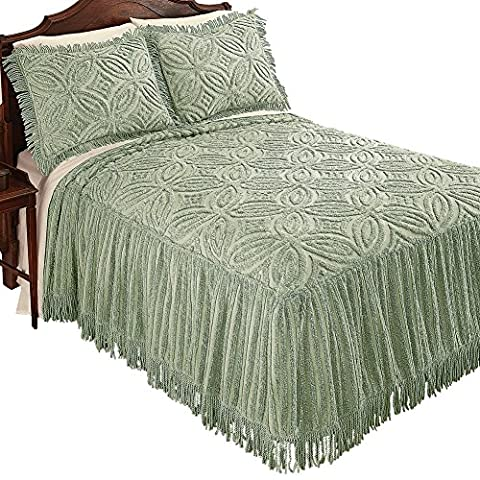Cynthia Chenille Wedding Ring Design and Fringed Skirt Lightweight Bedspread, Sage, King - Sage Green Chenille