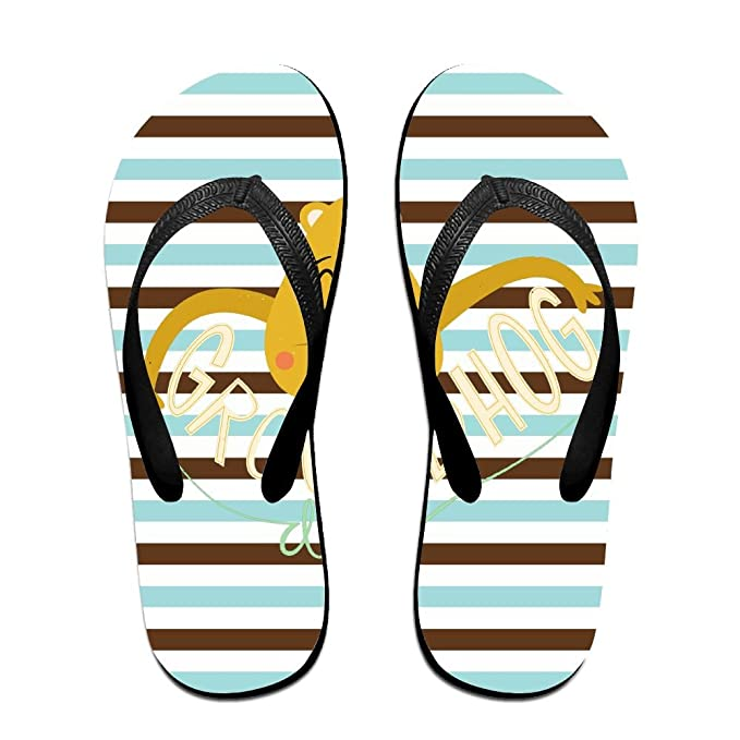 Unisex Non-slip Flip Flops Groundhog Face Cool Beach Slippers Sandal