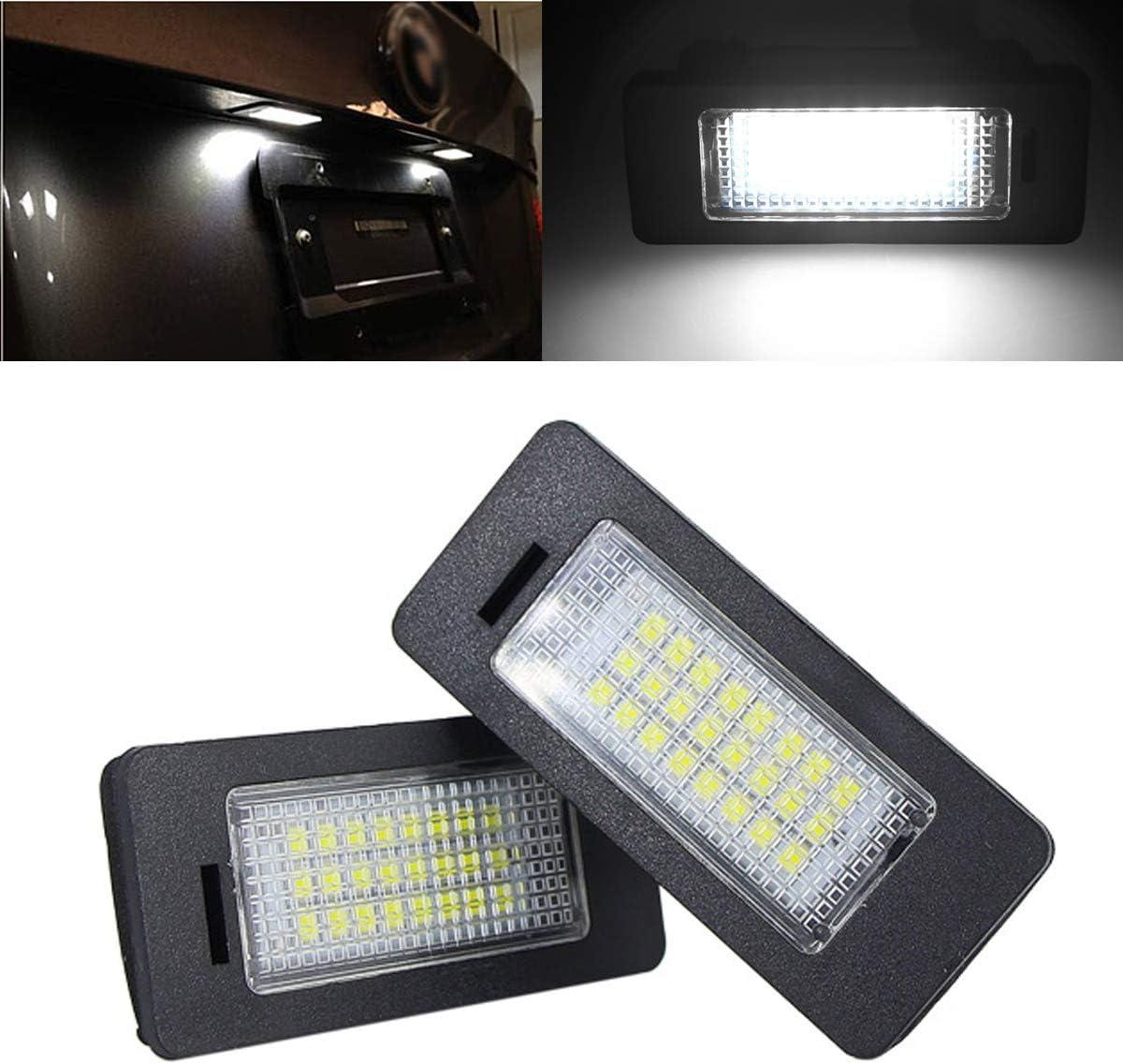 2pcs YUGUIYUN Eclairage Plaque dImmatriculation Automobile Lumi/ère Num/éro de Plaque 24 LED Xenon Blanc LED Lampe pour E39 M5 E70 E71 X5 X6 E60 M5 E90 E92 E93 M3