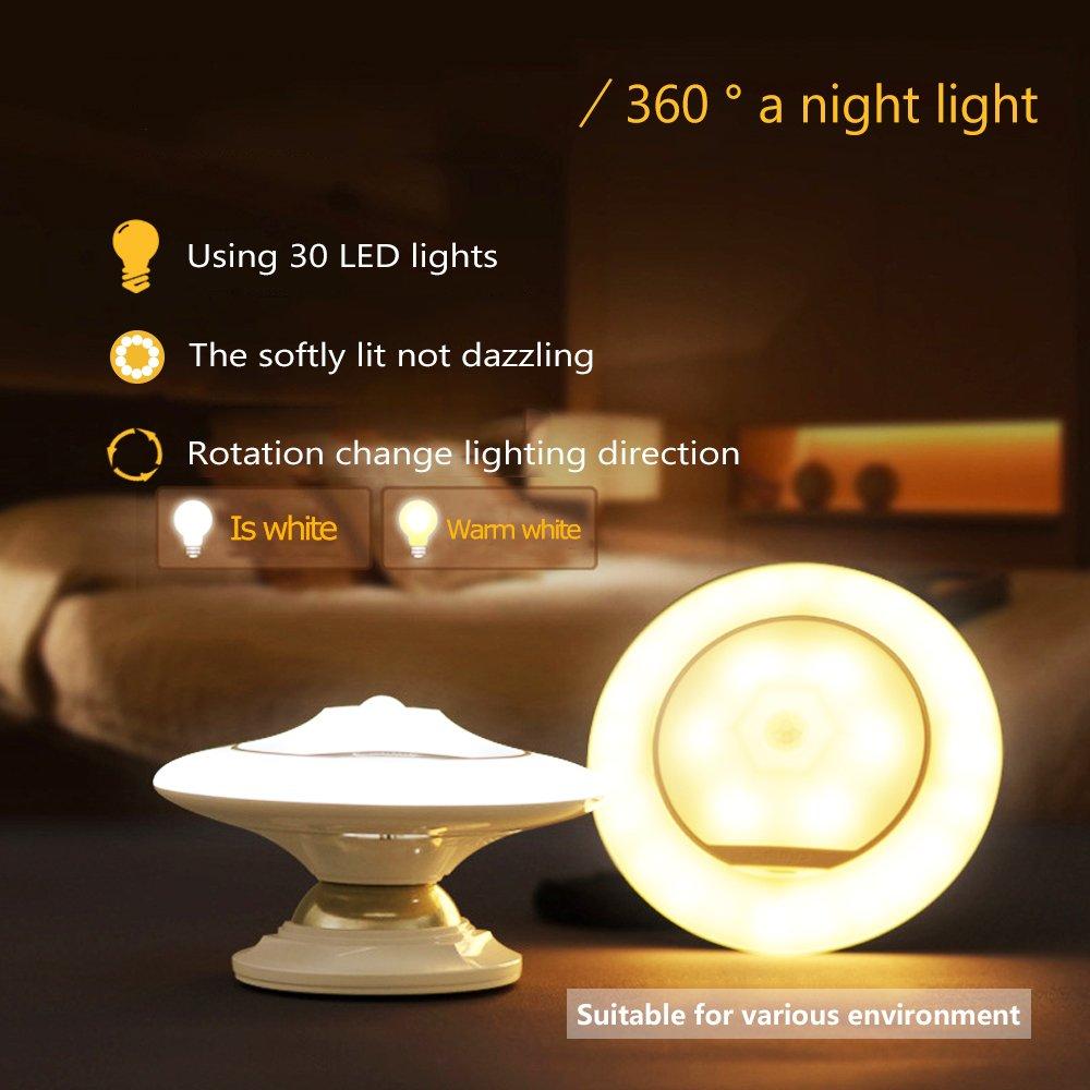 Led night light warm white -  Ufo 360 Rotating Body Sensor Night Light Detachable Magnetic Holder Apply To Corridor Bedroom Stairs And Desk Lamp 1pcs White Light Storage Model Baby