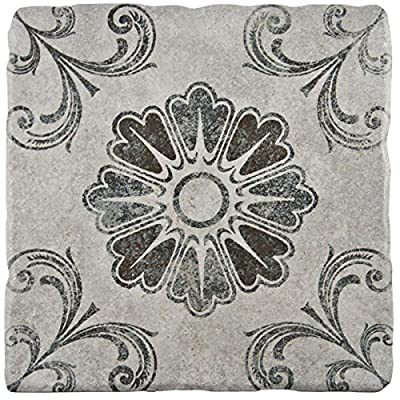 SomerTile 7.75x7.75-inch Gavras Cendra Décor Fleur Ceramic Floor and Wall Tile (Case of 25)