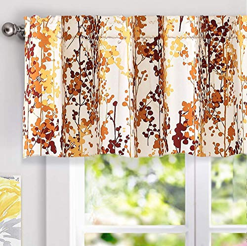 DriftAway Leah Abstract Floral Blossom Ink Painting Window Curtain Valance Rod Pocket 52 Inch by 18 Inch Plus 2 Inch Header Red Rust Orange Gold Yellow (Curtains Kitchen Fall)