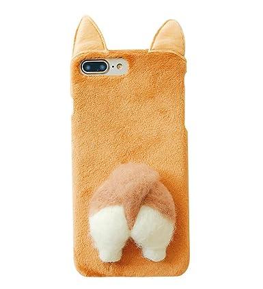 detailed look 06223 b82e2 UnnFiko Soft Fur Case for iPhone 7 Plus, Cartoon Funny Cute Puppy Plush  Animal Cat Butt Corgi Tail Brown Ear Hair Creative Design 8 Plus Case for  ...