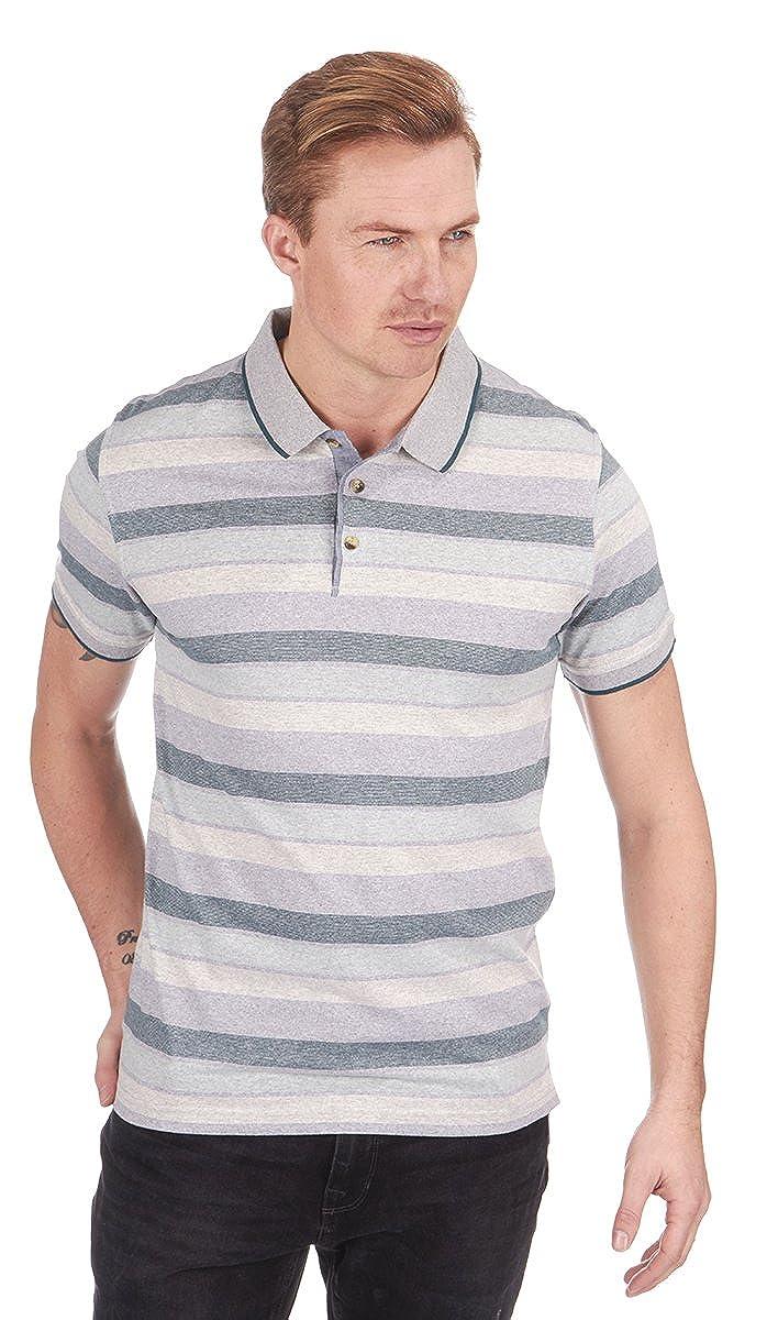 para Hombre diseño de Rayas Jersey Polo Top Camiseta Manga Corta ...