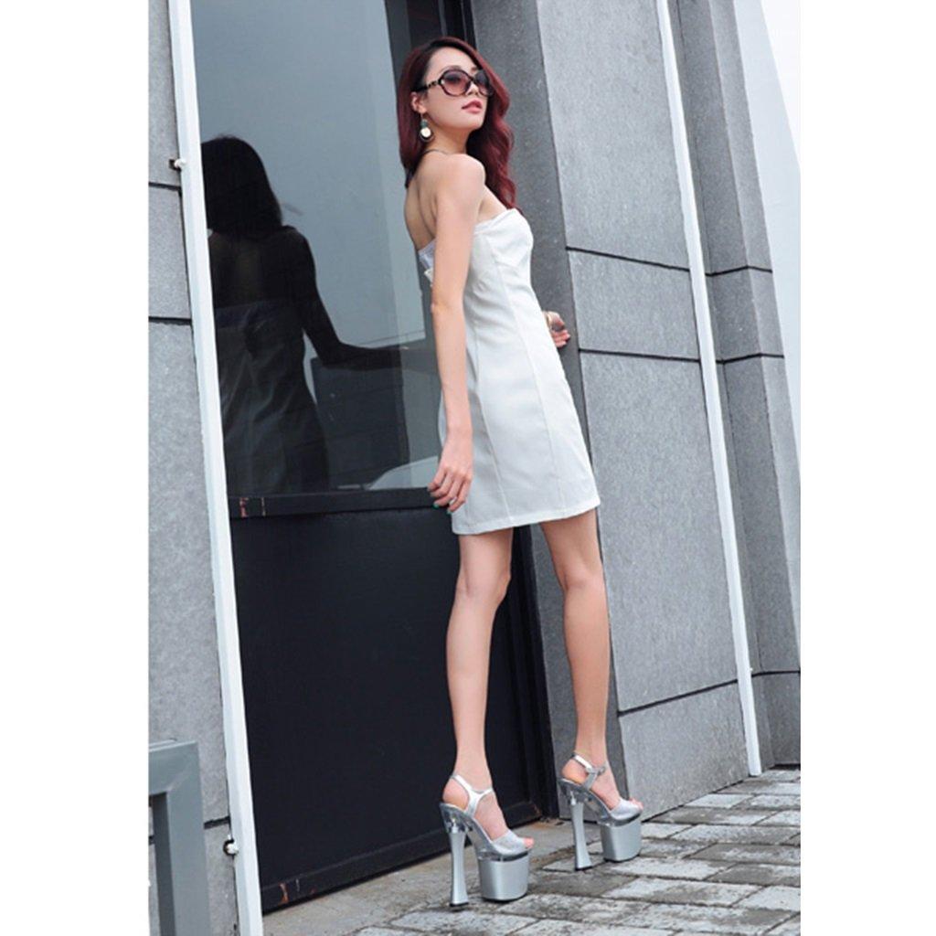 ALUK- Chaussures Chaussures Chaussures pour femmes - L'Europe et les Etats-Unis sexy 20cm super talons fond épais avec des sandales de femmes ( Couleur : Silver , taille : 37-Shoes long235mm )B07BJ4QVTW37-Shoes long235mm Silver 28197c