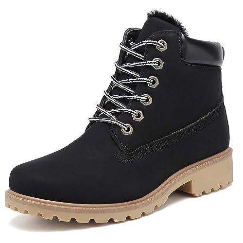 KARKEIN Ankle Boots for Women Low Heel Work Combat Boots Waterproof Winter Snow Boots Black