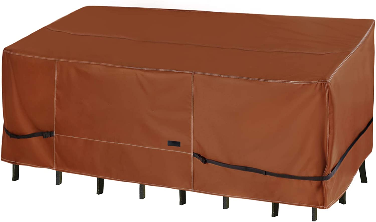 NettyPro Waterproof Patio Table Cover Rectangular, 600D Heavy Duty Outdoor Furniture Set Dining Rectangle Table Chairs Cover 105 x 75 Inches, Brown