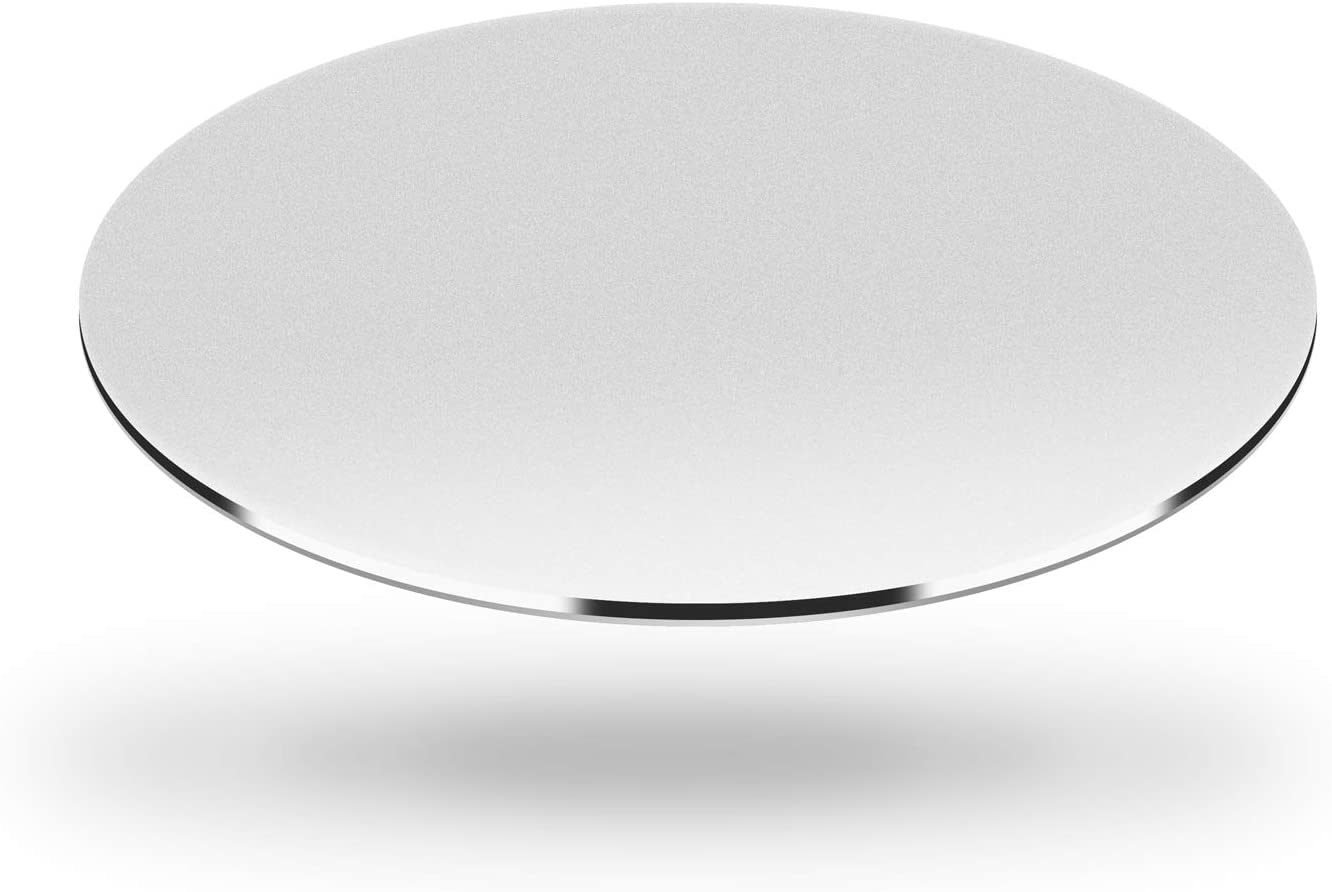 DSKKWS Metal Aluminum Mouse Pad, Office Thin Hard Mouse Mat Leather Surface Double Side Precision Silver and Black Mouse Pads for Fast and Accurate Control(Round 7.8inchX7.8inch)