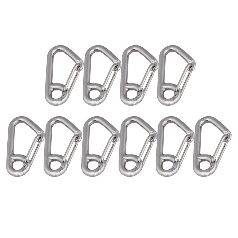 Yibuy 10xStainless Steel Simple Spring Snap Hook Outdoor Sport Accessory Silver 304