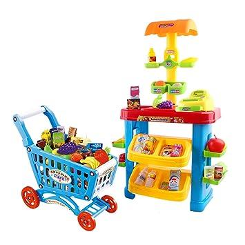 deAO Supermercado - Puesto de Mercado con Carrito de la Compra y Más de 30 Accesorios y Productos Incluidos: Amazon.es: Juguetes y juegos
