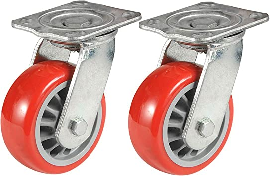 "10 pcs swivel caster wheels 2/"" blue PU base with top plate /& bearing heavy duty"
