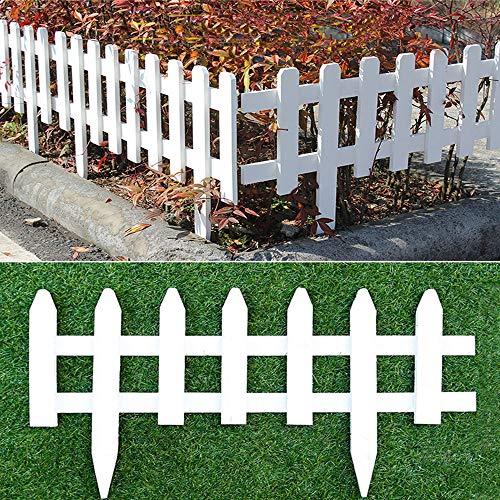"uyoyous 2 Pack Wood Picket Fence 23.6"" Long Garden Lawn Border Edge Decoration Picket Fence,White"