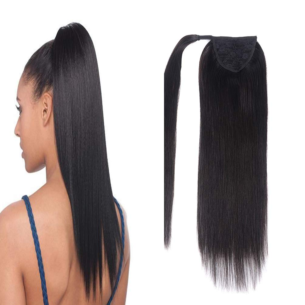 14'' Human Hair Ponytail Extensions 80g #1B Natural Black 100% Remy Human Hair Wrap Around Long Ponytail Clip in Hair Extensions Straight One Piece Hairpiece (14'', Natural Black) by FAAAL