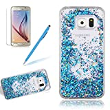 Case Cover For Samsung Galaxy S6, Girlyard Glitter Floating Bling Case 3D Creative Luxury Design Stars Leaves Moving Crystal Hourglass Cover Clear Bling Diamond Leaves Hard Back Case[Free Screen Protector], Blue