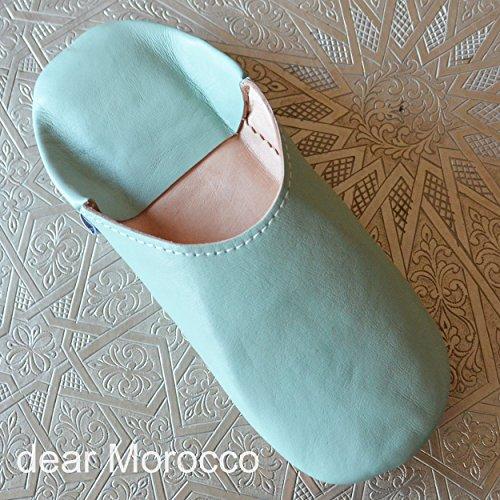 Kära Marocko Enkel Babouche Fårskinn Tofflor Bahia Blå