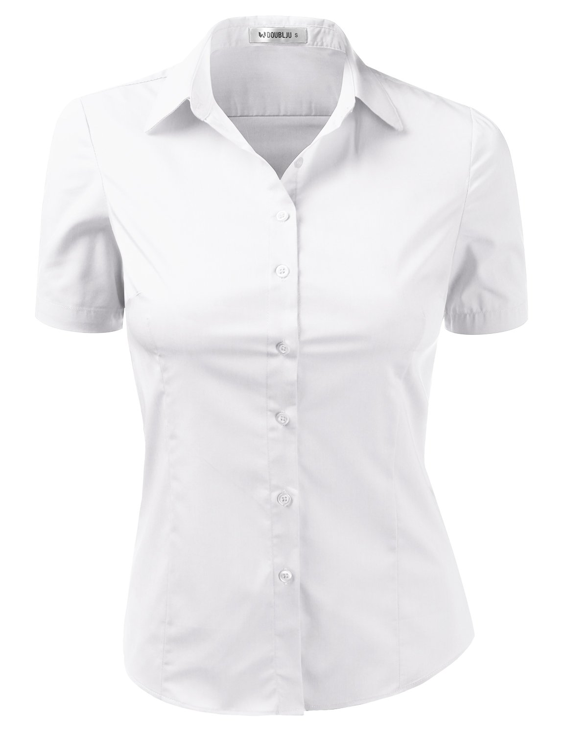 Doublju Womens Slim Fit Plus Size Business Casual Short Sleeve Button Down Dress Shirt White 2XL