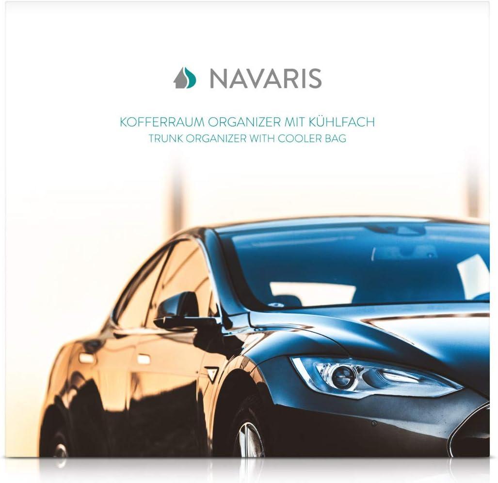 Navaris Auto Kofferraum Organizer Mit Kühlfach 59 X 32 X 29cm 5 Fächer Faltbar Kfz Rücksitz Kofferraumtasche Kofferraumbox In Schwarz Auto