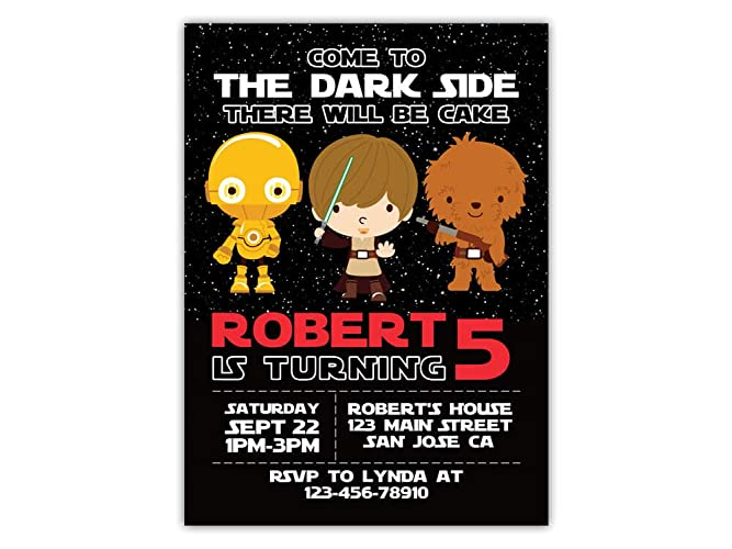 Image Unavailable Not Available For Color Star Wars Birthday Party Invitations ANY AGE Custom
