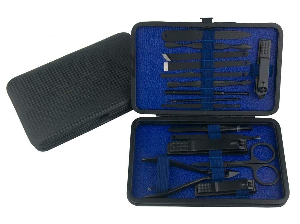 Professional Manicure Pedicure Set Nail Clipper -15 Piece Stainless Steel Heavy Duty Nail Care Aids -Fingernail Clippers,Toenail Clippers -Portable Travel & Grooming Kit Tools -Deluxe ((Black&Blue))