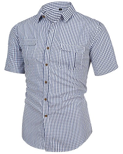 TRENSOM Men's Casual Cotton CollaWhite Checked Short Sleeve Plaid Button Down Dress Shirt White Small ()