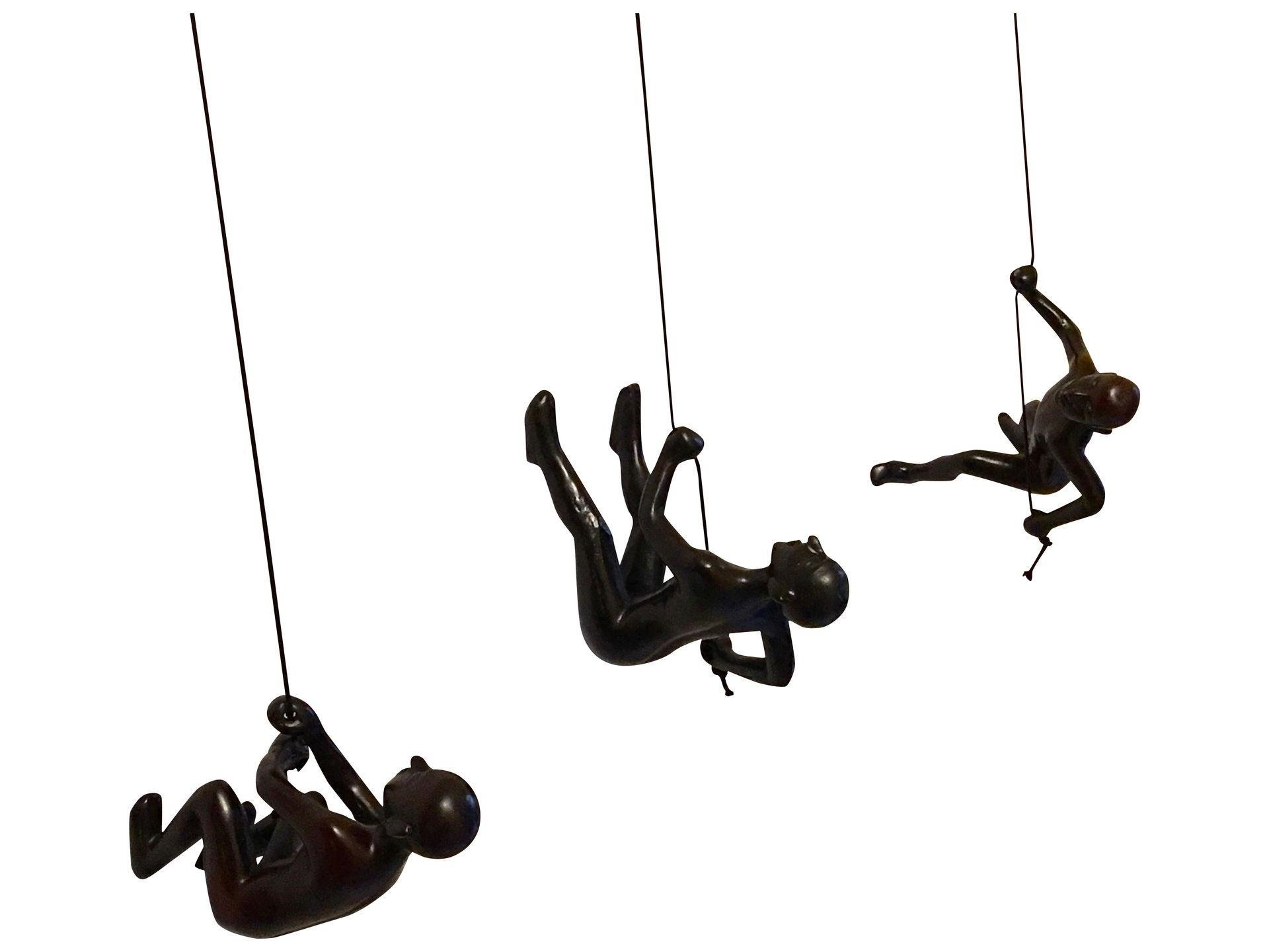 Climbing Man Choco Position 1 - 2 - 3 Hanging Wall Piece Of Art By ELADITEMS – Solid, Durable Polyresin Construction – Handmade, Highly Motivational Home Décor Item