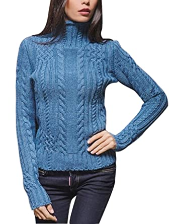 5afcb2689 shermie Women s Pullover High Neck Chunky Cable Knit Casual Long ...
