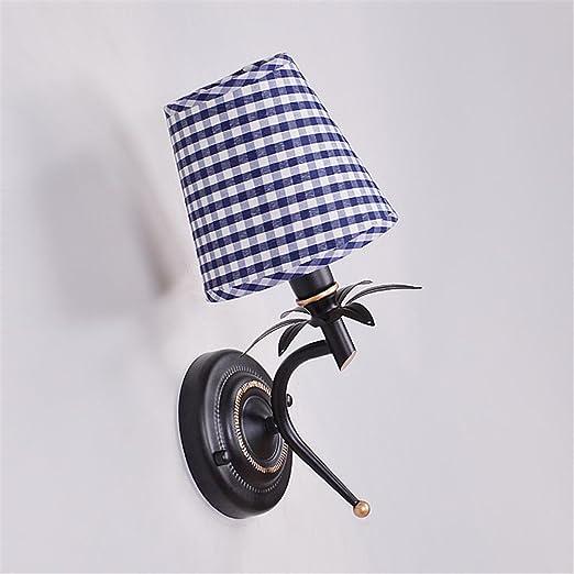 Lightoray Vintage - Lámpara de pared de tela para campana extractora, color azul, creativa, E27, retro, aplique de pared para bar, dormitorio, cocina, restaurante, café, pasillo: Amazon.es: Iluminación
