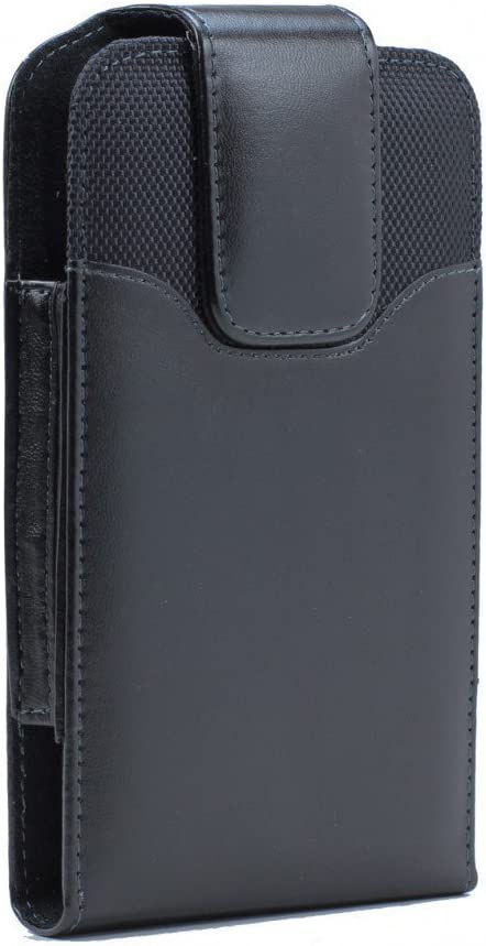 """Golden Sheeps Compatible with iPhone SE 2020 4.7"""",iPhone 8/7 6S/ 6 XXL Size Vertical Leather Belt Clip Holster Pouch Case (Phone with Large Thick/Battery/Heavy Duty Case On)-Black"""