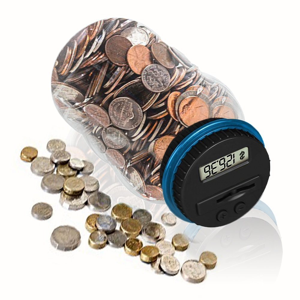 Money Bank, HeQiao Digital Large LCD Money Jar Battery Operated Coin Bank US Dollar Coins Savings Box for Office Home Kids Children (Automatic Counting) (Black/Blue)