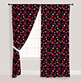 AZ Love Heart Door & Window Curtain Satin 4feet x 11feet; SET OF 3 PCS