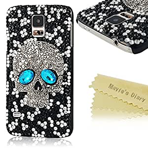 Mavis's Diary for Samsung Galaxy S5 I9600 SM-G900 3D Handmade Crystal Sparkling Skull Black Rhinestone Diamond Bling Cover Case with Soft Clean Cloth (Blue Beads)