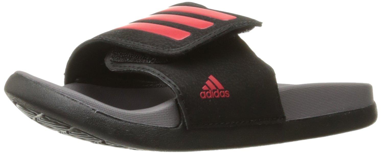 adidas Boys' Adilette CLF+ ADJ K, Black/Scarlet/Trace Grey, 12 Medium US Big Kid