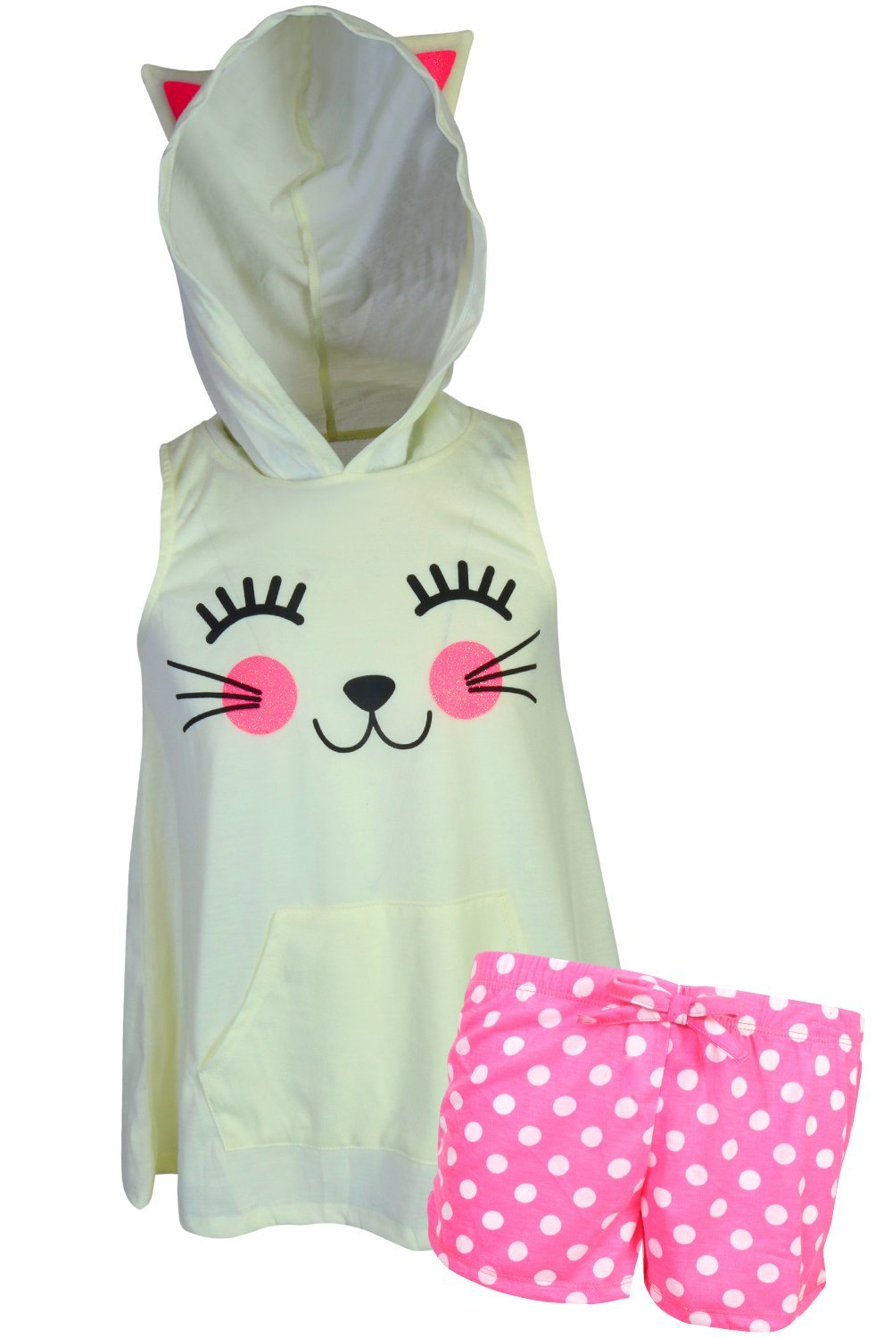 dELiA*s dELiAs Girl's Sleeveless Summer Pajama Short Set With Animal Character Hood, Cat, Size 10/12'