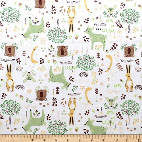 Camelot Fabrics Nursery Program Flannel Forest Friends Fabric, Eucalyptus, Fabric By The Yard