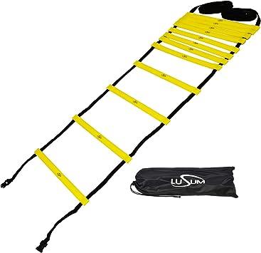Lusum Escalera de Agilidad de Calidad Profesional, 6 m, Ajustable, 12 peldaños, para Entrenamiento de Velocidad y Agilidad, con Bolsa para Entrenamiento de Velocidad de fútbol: Amazon.es: Deportes y aire libre