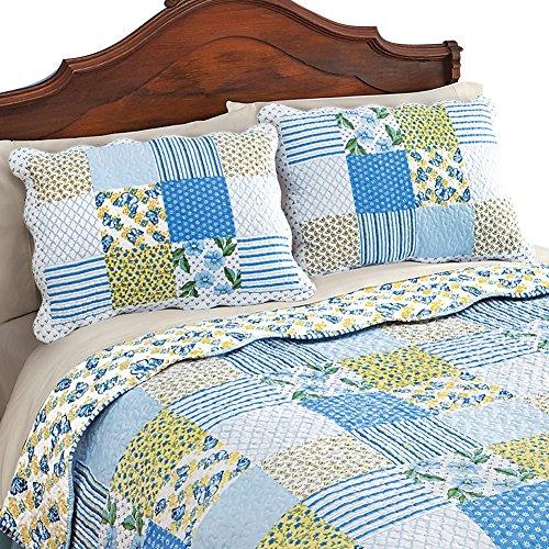 Butterflies Stripe Floral Lattice Patchwork Pillow Sham, Blue (Garden Quilt Lattice)