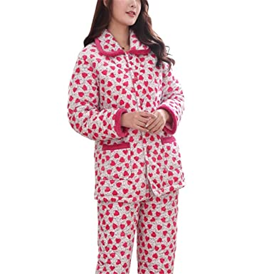 838f59a022e8 Lonimor Ladies Pajamas Autumn Winter Flannel Thickening Cute Home Service  Suit Grey Heart M