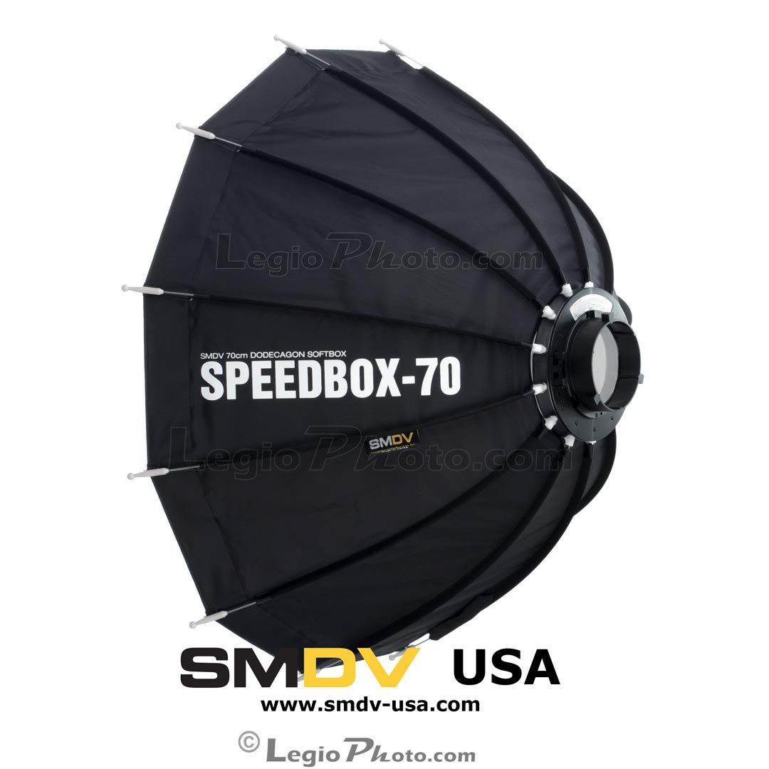 SMDV Diffuser SPEEDBOX-S70B - Professional 28-inch (70cm) Rigid Portable Quick Folding Dodecagon Softbox - Bowens S-Type Mount (DA-02) - Legio Limited Edition by SMDV