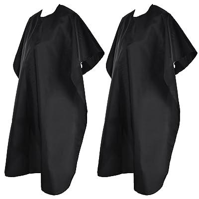 2 Piezas de Capa de Peluquería Delantal de Salon de Pelo Capas de Nylon con Cierre Adhesivo y Cuerda Atada, Aprox. 55,1 x 35,43 Pulgadas, Negro