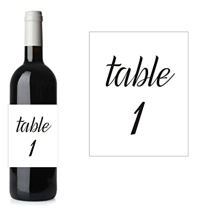 amazon com white table number wine labels set table 1 25 wedding
