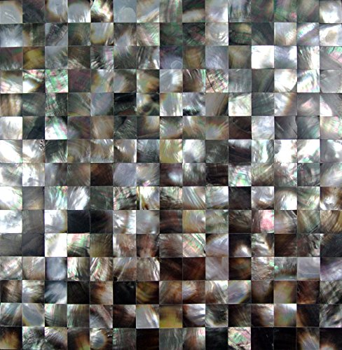 Siciz Black Seamless Mother of Pearl Mosaic Tiles Genuine Shell Tiles 5 Square Feet