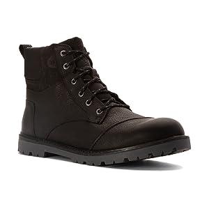 TOMS Men's Ashland Boot Black Leather/Herringbone 10.5 M
