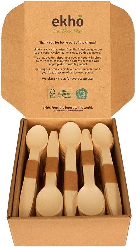 ekhõ The Wood Way! – Juego de 100 Cucharas de Madera Sostenible – Cubiertos Desechables Biodegradables, Ecológicos y Compostables - Cubertería para ...