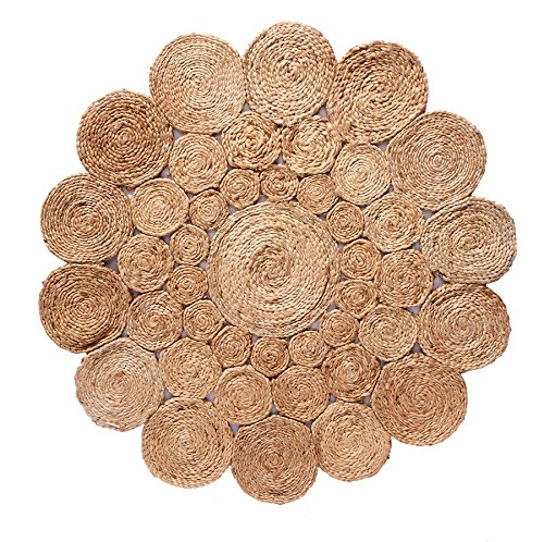 Rung Round (HF by LT Boho Market Avery Crochet Round Jute Rug, 5', Durable and Sustainable Handwoven Jute, Reversible, Beige, 3 Styles Available)